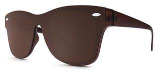 Lentes manchadas del espejo del marrón de las gafas de sol aisladas en el backgro blanco fotografía de archivo libre de regalías