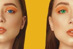 lentes Multi-coloridas para os olhos Lentes azuis, lentes verdes Modelo Girl da beleza com composi??o profissional alaranjada Som fotos de stock royalty free