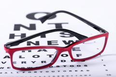 Lentes y carta de ojo Fotografía de archivo libre de regalías