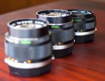 Lenti differenti di OM composte insieme alla luce naturale Fotografia Stock