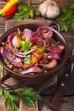 Lenticchie con la salsiccia e le verdure Immagine Stock Libera da Diritti
