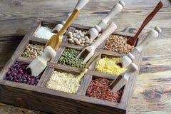 Lenticchie dei diversi cereali, piselli, riso, quinoa, grano saraceno Immagine Stock Libera da Diritti