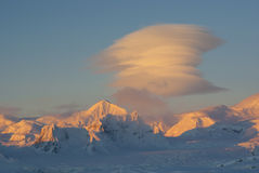 Lenticular clouds in the Antarctic. Royalty Free Stock Photo