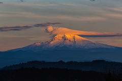Lenticular Clouds over Mount Hood Stock Photography