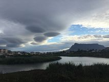 Lenticular clouds over table mountain Royalty Free Stock Photo