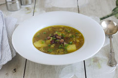 Lentil and bacon soup Royalty Free Stock Photography