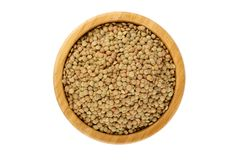 Lentil in a bamboo bowl Stock Photos