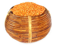 Lentil on a basket Royalty Free Stock Image