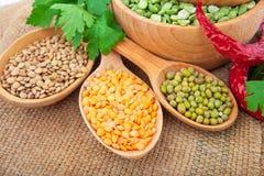 Lentil bean in wooden plate Stock Photo