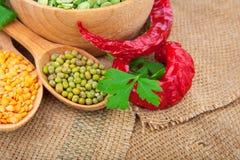 Lentil bean in wooden plate Stock Images