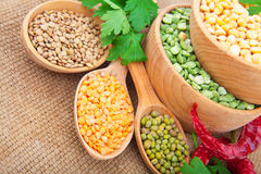 Lentil bean in wooden plate Royalty Free Stock Photography