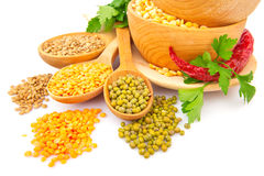 Lentil bean in wooden plate with spice food photo Stock Image