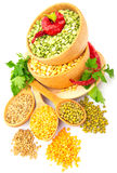 Lentil bean in wooden plate with spice food photo Stock Photography