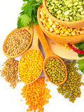 Lentil bean in wooden plate with spice food photo Stock Images