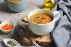 Lentil Bulgur Soup, Comfort Food, Turkish Cuisine. Vegetarian Meal royalty free stock image