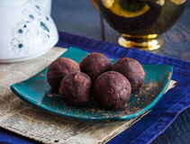 Lentil candy with figs, chocolate truffle, healthy dessert Stock Photography