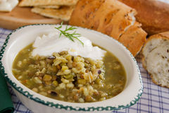 Lentil and cereal soup. Lentil and cereal vegetable soup with sour cream and bread Stock Photos