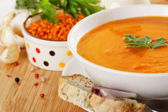 Lentil cream soup. Red lentil cream soup and other ingredients Royalty Free Stock Photography