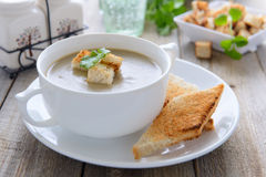 Lentil cream soup with croutons Stock Photo