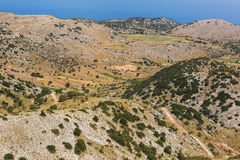 The lentil fields above the village of Englouvi, on Vouni plateau, Lefkada, Greece Royalty Free Stock Photo