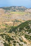 Lentil fields on Vouni plateau, Englouvi village,  Lefkada, Greece Royalty Free Stock Photos