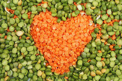 Lentil heart in peas Royalty Free Stock Images