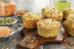 Lentil muffins on the table. Lentil muffins with pumpkin seeds and almonds Stock Images