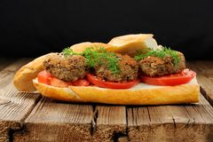Lentil patty sandwich with tomato and carrot greens in old woode Stock Photos