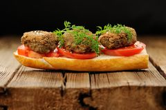 Lentil patty sandwich with tomato and carrot greens in old woode Stock Photography