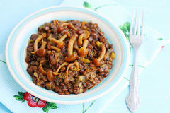 Lentil porridge with mushrooms Stock Photo
