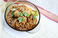Lentil porridge with pork meatballs Royalty Free Stock Photos