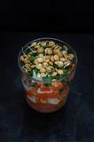 Lentil pumpkin salad with parsley and feta Royalty Free Stock Images