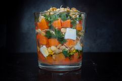 Lentil pumpkin salad with parsley and feta Stock Photos