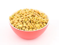 Lentil in red bowl Stock Photo