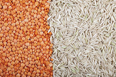 Lentil and Rice Background Stock Photo