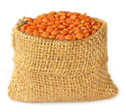 Lentil in a sack Royalty Free Stock Photo