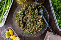 Lentil Salad in a glass bowl Royalty Free Stock Images