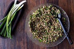 Lentil Salad in a glass bowl Stock Photography