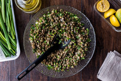 Lentil Salad in a glass bowl Royalty Free Stock Image