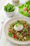 Lentil salad with poached egg Stock Image