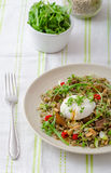 Lentil salad with poached egg Royalty Free Stock Photo