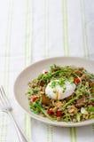 Lentil salad with poached egg Stock Image