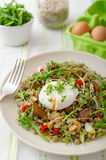 Lentil salad with poached egg Royalty Free Stock Photos