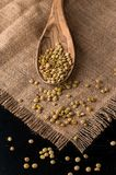 Lentil seeds in a wooden spoon Royalty Free Stock Photography