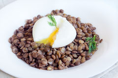 Lentil and soft poached egg Stock Photo