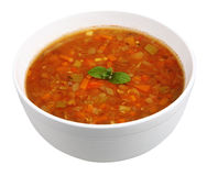 Lentil soup. Isolated on white with clipping path Royalty Free Stock Photo