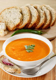 Lentil soup. Red lentil cream soup and other ingredients Royalty Free Stock Photo
