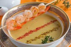 Lentil soup. Lentil soup with shrimp Stock Photo