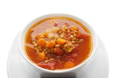 Lentil soup. In a white bowl Royalty Free Stock Photography