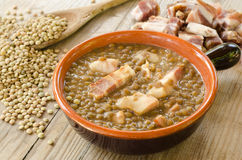 Lentil soup and bacon Royalty Free Stock Photography